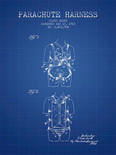 Wall Art - Digital Art - Parachute Harness Patent From 1922 - Blueprint by Aged Pixel