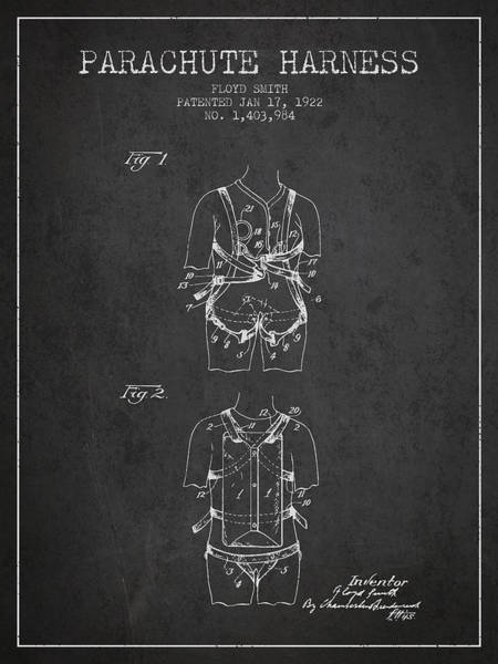 Wall Art - Digital Art - Parachute Harness Patent From 1922 - Charcoal by Aged Pixel