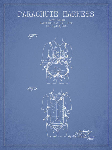Wall Art - Digital Art - Parachute Harness Patent From 1922 - Light Blue by Aged Pixel