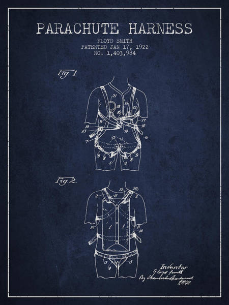 Wall Art - Digital Art - Parachute Harness Patent From 1922 - Navy Blue by Aged Pixel