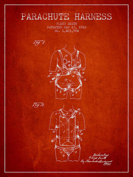 Wall Art - Digital Art - Parachute Harness Patent From 1922 - Red by Aged Pixel