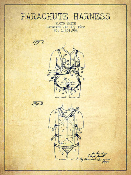 Wall Art - Digital Art - Parachute Harness Patent From 1922 - Vintage by Aged Pixel
