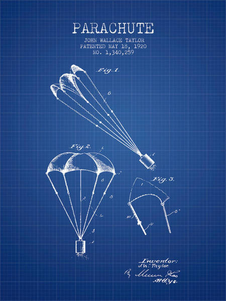 Wall Art - Digital Art - Parachute Patent From 1920 - Blueprint by Aged Pixel