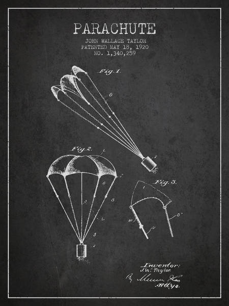 Wall Art - Digital Art - Parachute Patent From 1920 - Charcoal by Aged Pixel