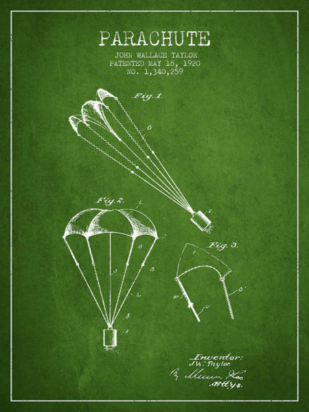 Wall Art - Digital Art - Parachute Patent From 1920 - Green by Aged Pixel