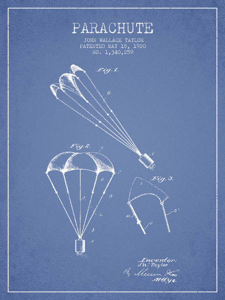 Wall Art - Digital Art - Parachute Patent From 1920 - Light Blue by Aged Pixel