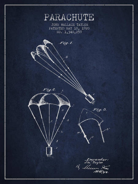Wall Art - Digital Art - Parachute Patent From 1920 - Navy Blue by Aged Pixel