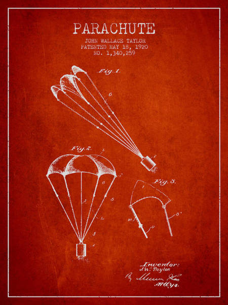 Wall Art - Digital Art - Parachute Patent From 1920 - Red by Aged Pixel