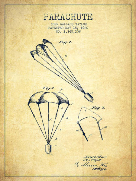 Wall Art - Digital Art - Parachute Patent From 1920 - Vintage by Aged Pixel