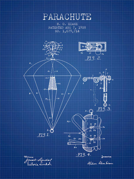 Wall Art - Digital Art - Parachute Patent From 1928 - Blueprint by Aged Pixel