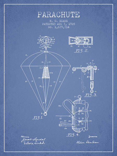 Wall Art - Digital Art - Parachute Patent From 1928 - Light Blue by Aged Pixel