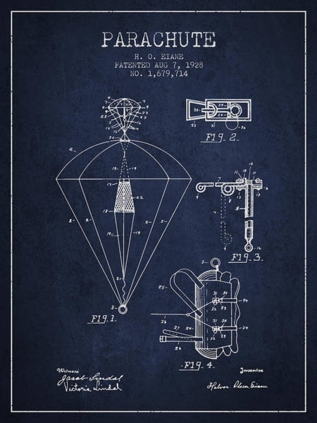 Wall Art - Digital Art - Parachute Patent From 1928 - Navy Blue by Aged Pixel