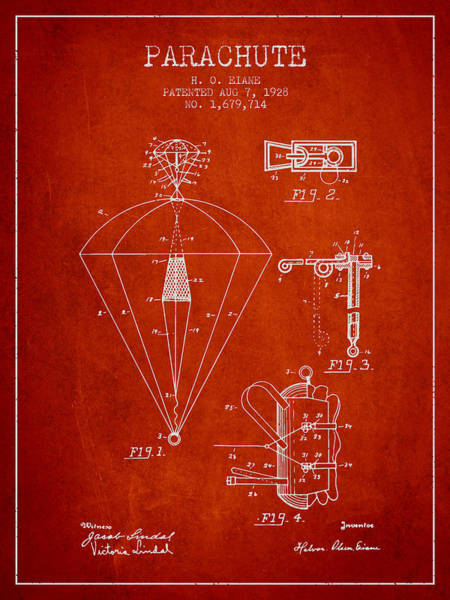Wall Art - Digital Art - Parachute Patent From 1928 - Red by Aged Pixel