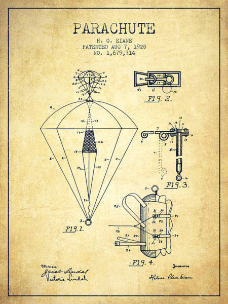 Wall Art - Digital Art - Parachute Patent From 1928 - Vintage by Aged Pixel