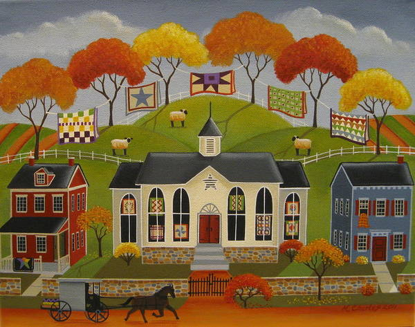 Amish Wall Art - Painting - Parade Of Quilts by Mary Charles