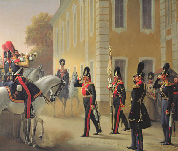 Sentry Wall Art - Painting - Parading Of The Standard Of The Great Palace Guards by Adolph Gebens