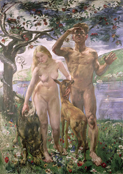 The Creation Of Adam Wall Art - Painting - Paradise by Lovis Corinth