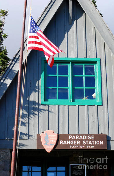 Wall Art - Photograph - Paradise Ranger Station. Mt. Rainier National Park Honoring The Memory Of Neil Armstrong by Connie Fox