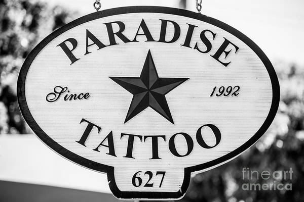 Body Piercing Photograph - Paradise Tattoo Key West - Black And White by Ian Monk