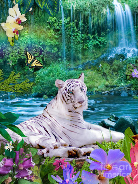Tiger Digital Art - Paradise Tiger by MGL Meiklejohn Graphics Licensing