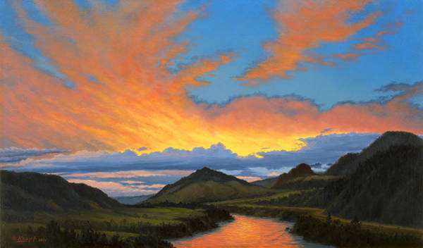 Yellowstone Wall Art - Painting - Paradise Valley Sunset  by Paul Krapf