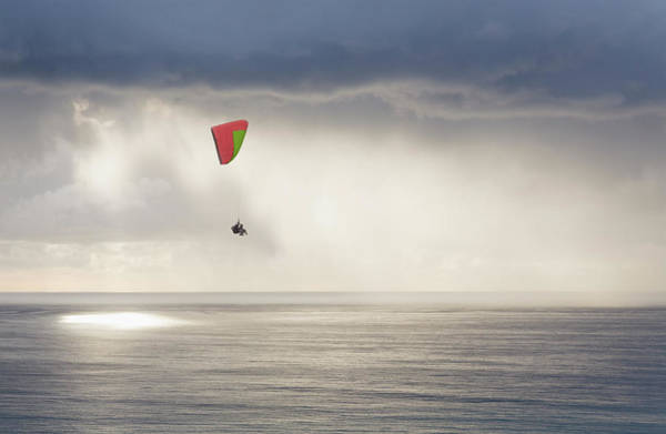 Hanged Photograph - Paraglider Over Pacific Ocean by David Madison