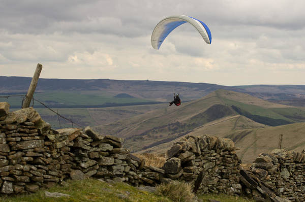 Photograph - Paraglider Over Rushup Edge by Pete Hemington