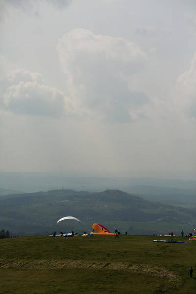 Hessen Photograph - Paragliders Preparing For Takeoff by Sebastian Kujas