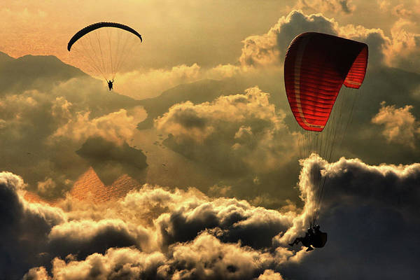 Aerial Photograph - Paragliding 2 by Yavuz Sariyildiz