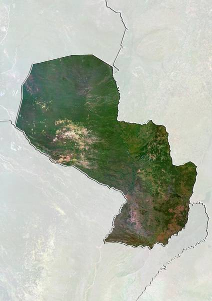 Landsat 7 Wall Art - Photograph - Paraguay by Planetobserver/science Photo Library