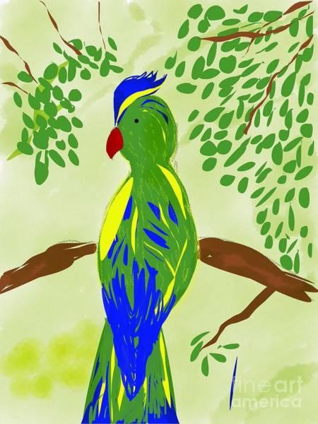 Green Parrot Drawing - Parakeet by Gurkirat Gill