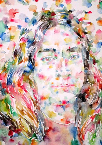Guru Painting - Paramahansa Yogananda Watercolor Portrait by Fabrizio Cassetta