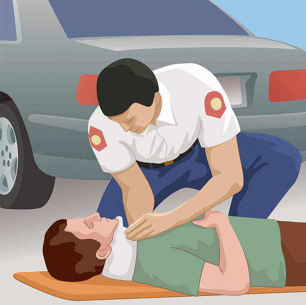 Neck Brace Photograph - Paramedic Helping Patient Lying On Road by Ikon Ikon Images