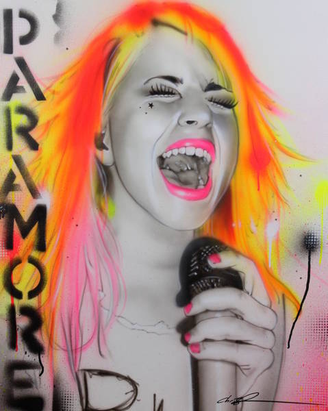 Neon Pink Painting - Paramore by Christian Chapman Art