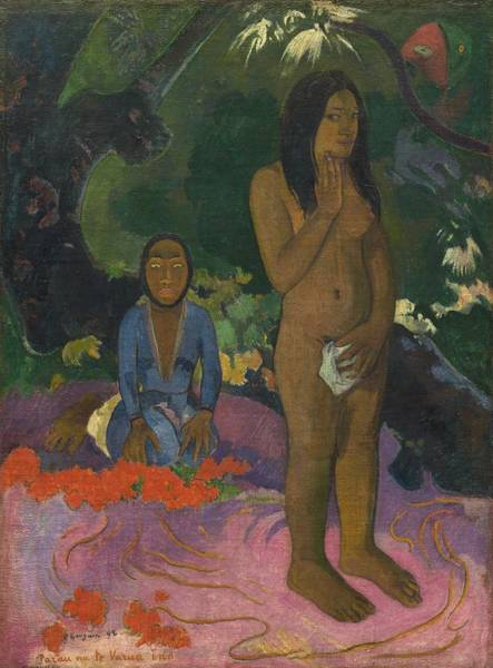 Wall Art - Painting - Parau Na Te Varua Ino  Words Of The Devil by Paul Gauguin