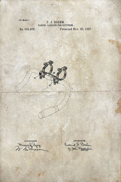 Digital Art - Parcel Carrier For Bicycles Patent 1897 by Paulette B Wright