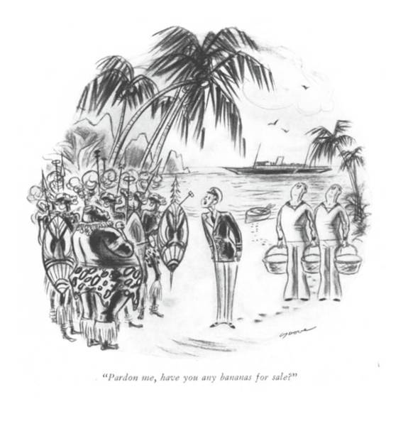 Dove Drawing - Pardon Me, Have You Any Bananas For Sale? by Leonard Dove