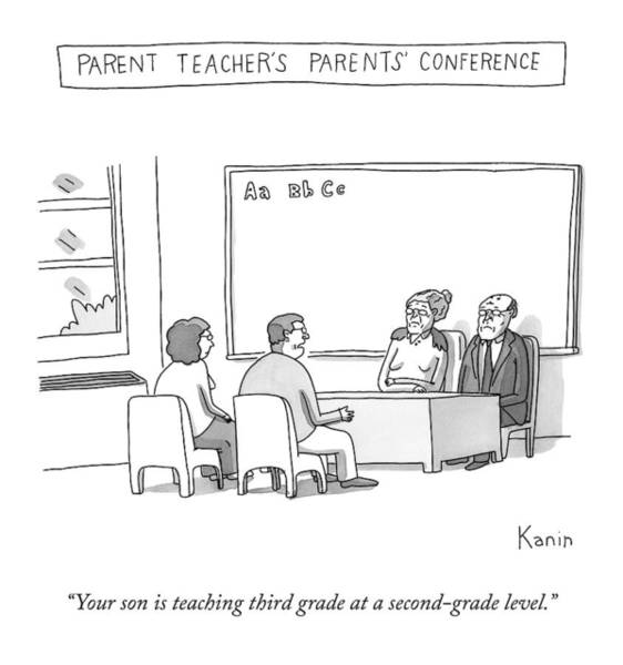 Elderly Drawing - Parent Teacher's Parents Conference -- An Elderly by Zachary Kanin
