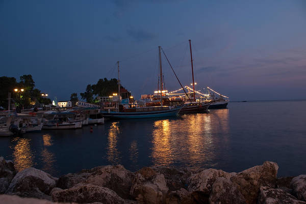 Photograph - Parga Harbour At Night by James Lavott