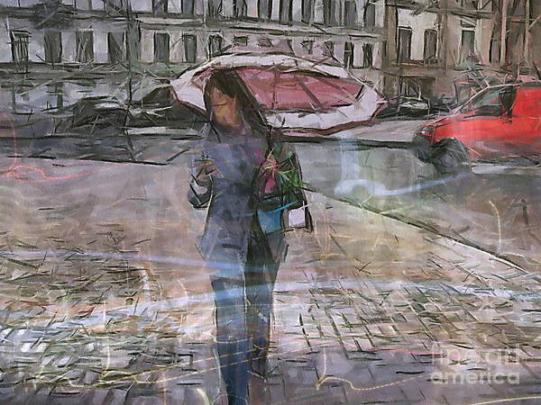 She Mixed Media - Paris And Rain by Yury Bashkin