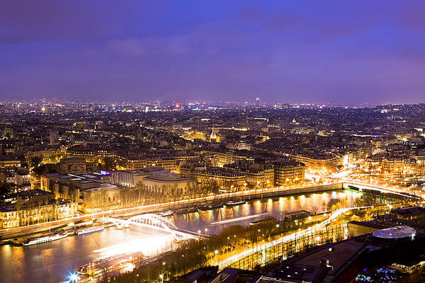 Photograph - Paris And The River Seine Skyline View At Night by Mark E Tisdale