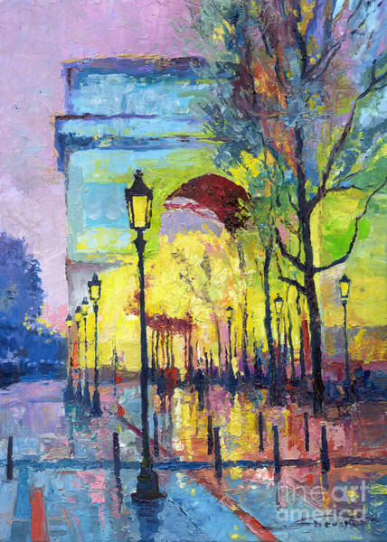 Paris Painting - Paris Arc De Triomphie  by Yuriy Shevchuk