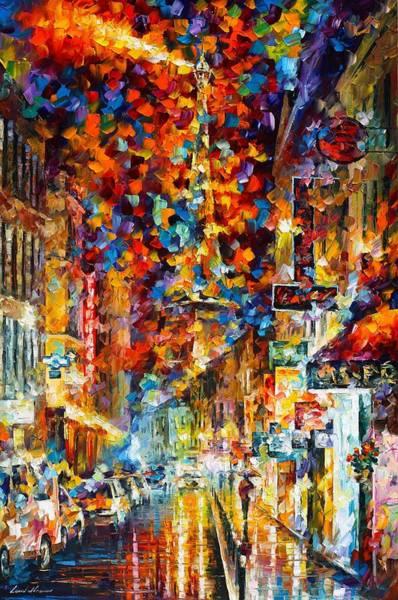Wall Art - Painting - Paris At Night by Leonid Afremov