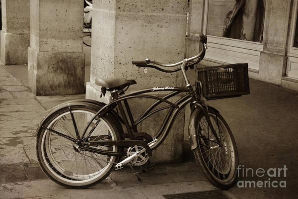 Wall Art - Photograph - Paris Bicycle Sepia Street Photography - Paris Bicycle Street Architecture Sepia Print by Kathy Fornal
