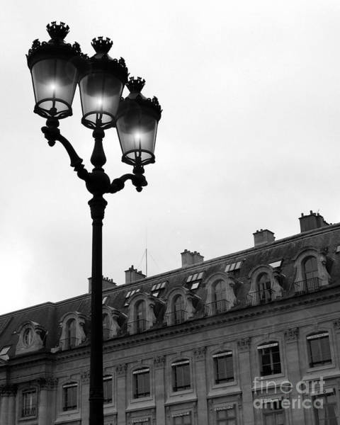 Shopping Districts Wall Art - Photograph - Paris Black And White Photograph - Place Vendome Lanterns Architecture Street Lamps by Kathy Fornal