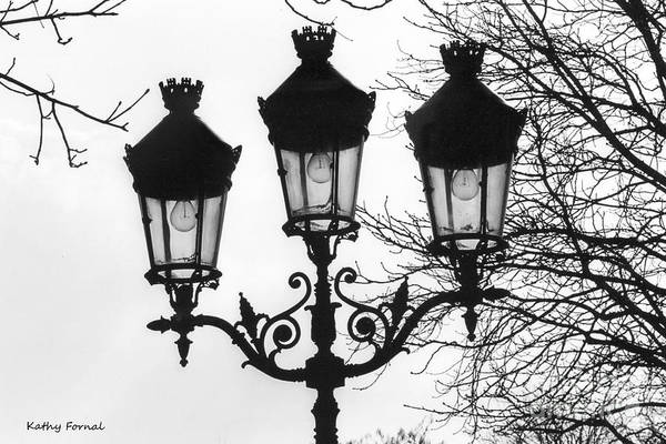 Shopping Districts Wall Art - Photograph - Paris Street Lanterns Lamps - Surreal Black And White Paris Street Lamps Architecture Art by Kathy Fornal