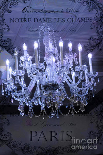 Chandelier Photograph - Paris Blue Crystal Chandelier Sparkling Chandelier Art - Paris Blue Shimmering Chandelier Art Deco  by Kathy Fornal