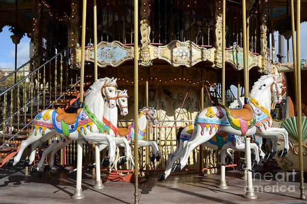 Carousel Horse Photograph - Paris Carousel Horses - Champs Des Mars - Paris Carousel Merry Go Round  by Kathy Fornal