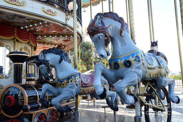 Carousel Horse Photograph - Paris Carousel Merry-go-round Horses - Paris Blue Carousel Horses - Baby Boy Blue Nursery Carousel by Kathy Fornal