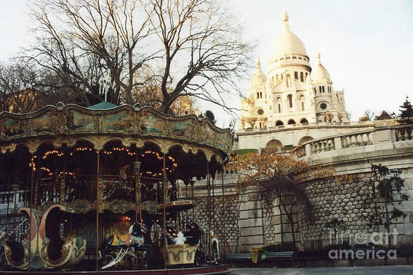 Carousels Photograph - Paris Carousel Merry Go Round Montmartre - Carousel At Sacre Coeur Cathedral  by Kathy Fornal